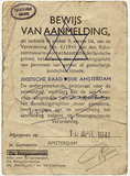 Registration certificate for Jews issued for Grete Weil