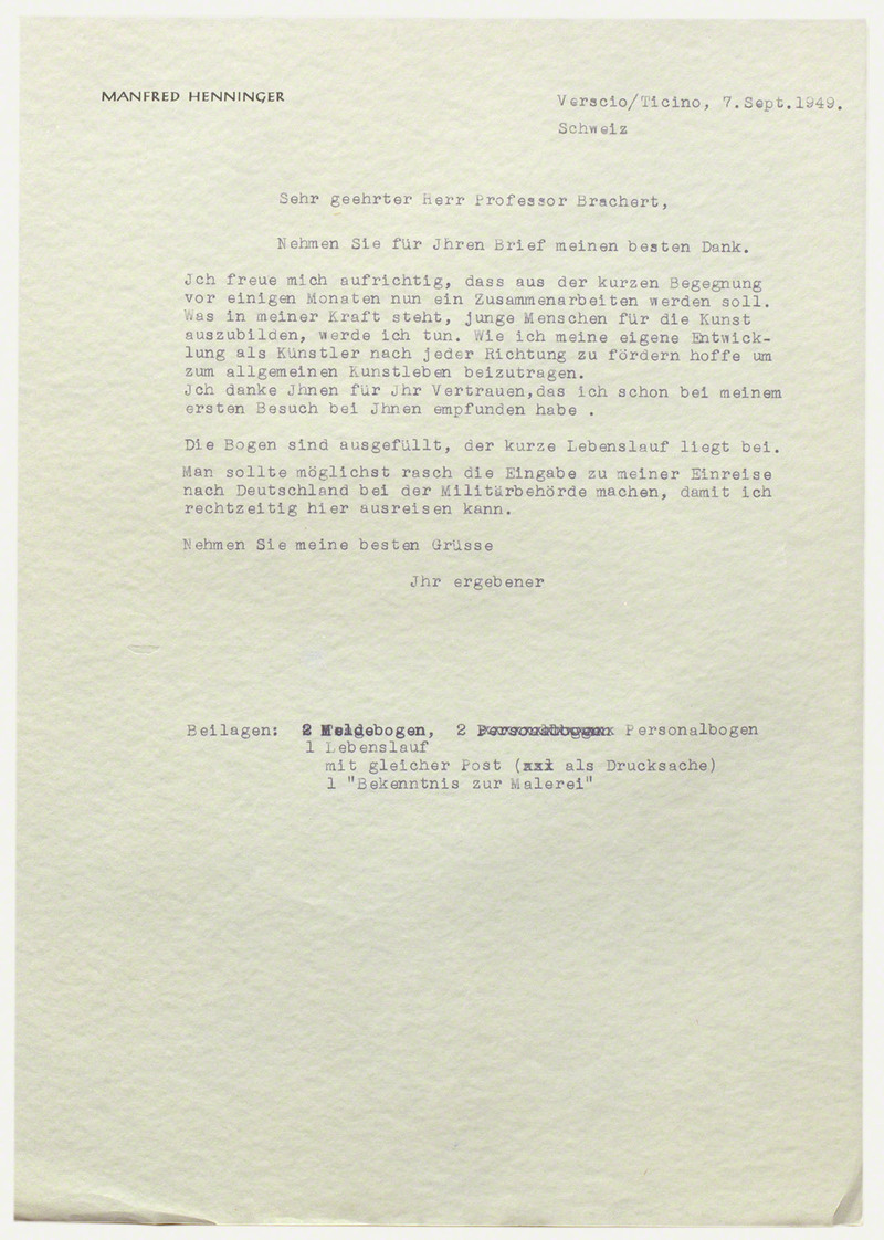 Künste Im Exil Objekte Manfred Henninger Brief An Wolfgang