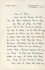 Thomas Mann: Brief an Dr. Hans Meisel