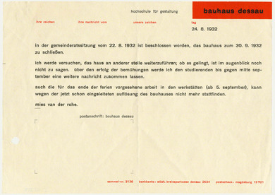 Arts in exile objects ludwig mies van der rohe circular letter ludwig mies van der rohe circular letter to the students of the bauhaus in dessau 1932 altavistaventures Choice Image