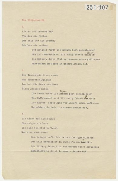 Arts In Exile Objects Bertolt Brecht Kaelbermarsch