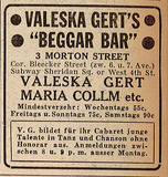 Newspaper advertisement for the Beggar Bar, 1942
