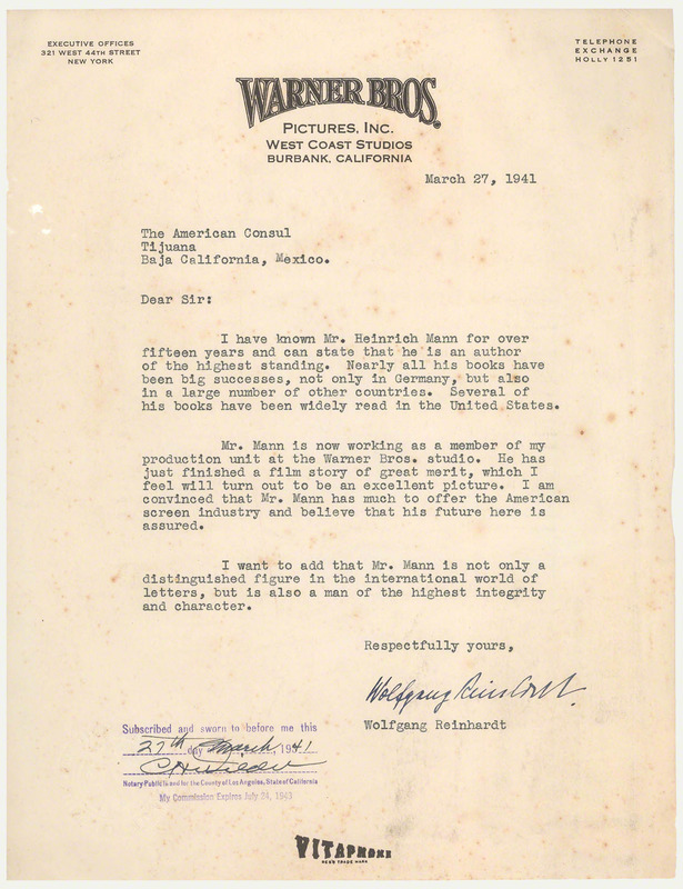 arts in exile - Objects - Letter of Recommendation from Wolfgang ...