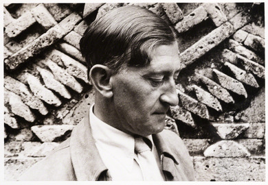 Black and white photograph of the painter Josef Albers in profile.