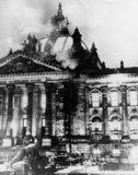 Photograph: The burning Reichstag building