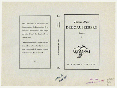 Proof: title page of Der Zauberberg by Thomas Mann, 21 March 1945