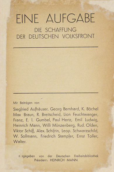 Book: A Mission: The Creation of the German People's Front