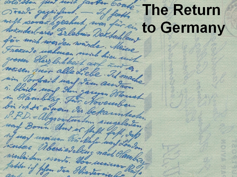 The Return to Germany