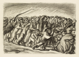 Ludwig Meidner, A Crowd of People Under the Whip, 1942-45