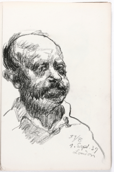 Ludwig Meidner, Self-Portrait from a Sketchbook, 1939