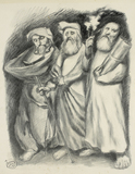 Ludwig Meidner, Three Standing Men with Torah Scroll, 1948/49