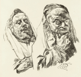 Ludwig Meidner, Two Praying Jews, 1935/36